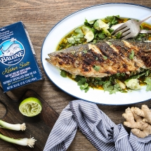 Grilled Salt-and-Pepper Bass with Curry Verde