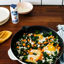 Kale and Sweet Potato Baked Eggs with Goat Cheese recipe