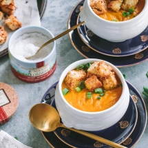 Ginger Carrot Soup with Garlic Croutons Sprinkled with Le Saunier de Camargue Fleur de Sel recipe